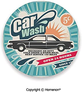 Retro Car Wash Auto Service Repair Poster Style Art in Vintage Color Classic Print,Absorbent Coaster For Drinks Multi,3.9×0.2inches(4PCS),Elegant Home Decor And Avoid Furniture From Damage