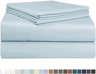 Juego de sábana de 400 conteo de hilos, 3 piezas de 100% algodón de fibra larga, lujoso suave saten conjunto de hojas, 1 sábana adjustable, 1 sábana plana, 1 funda de almohada (Azul claro - Single)