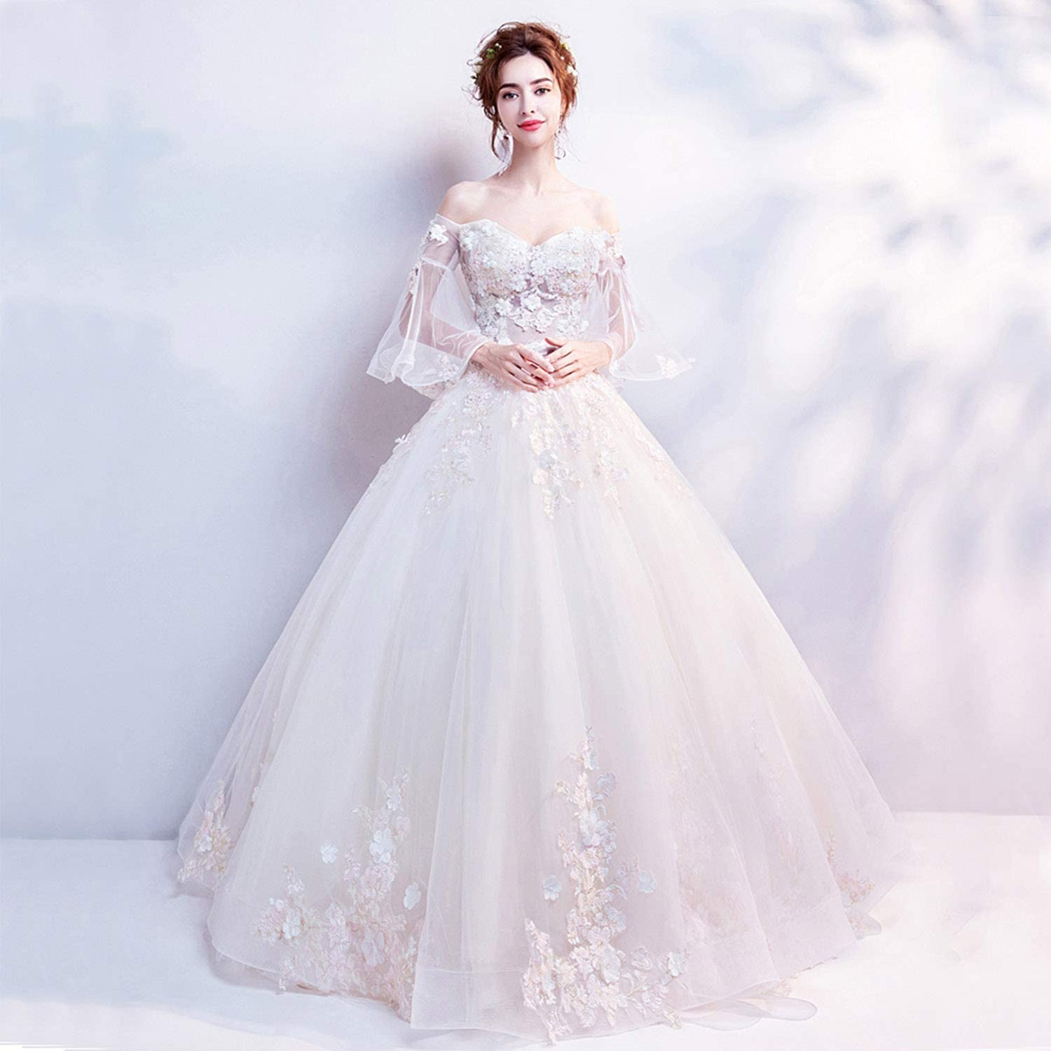 Fashion Women's Bride Wedding Dresses Fancy VNeck Tulle Floor Length Horn Sleeves Cremony Evening Prom Dresses with Floral Lace Appliques Beadings