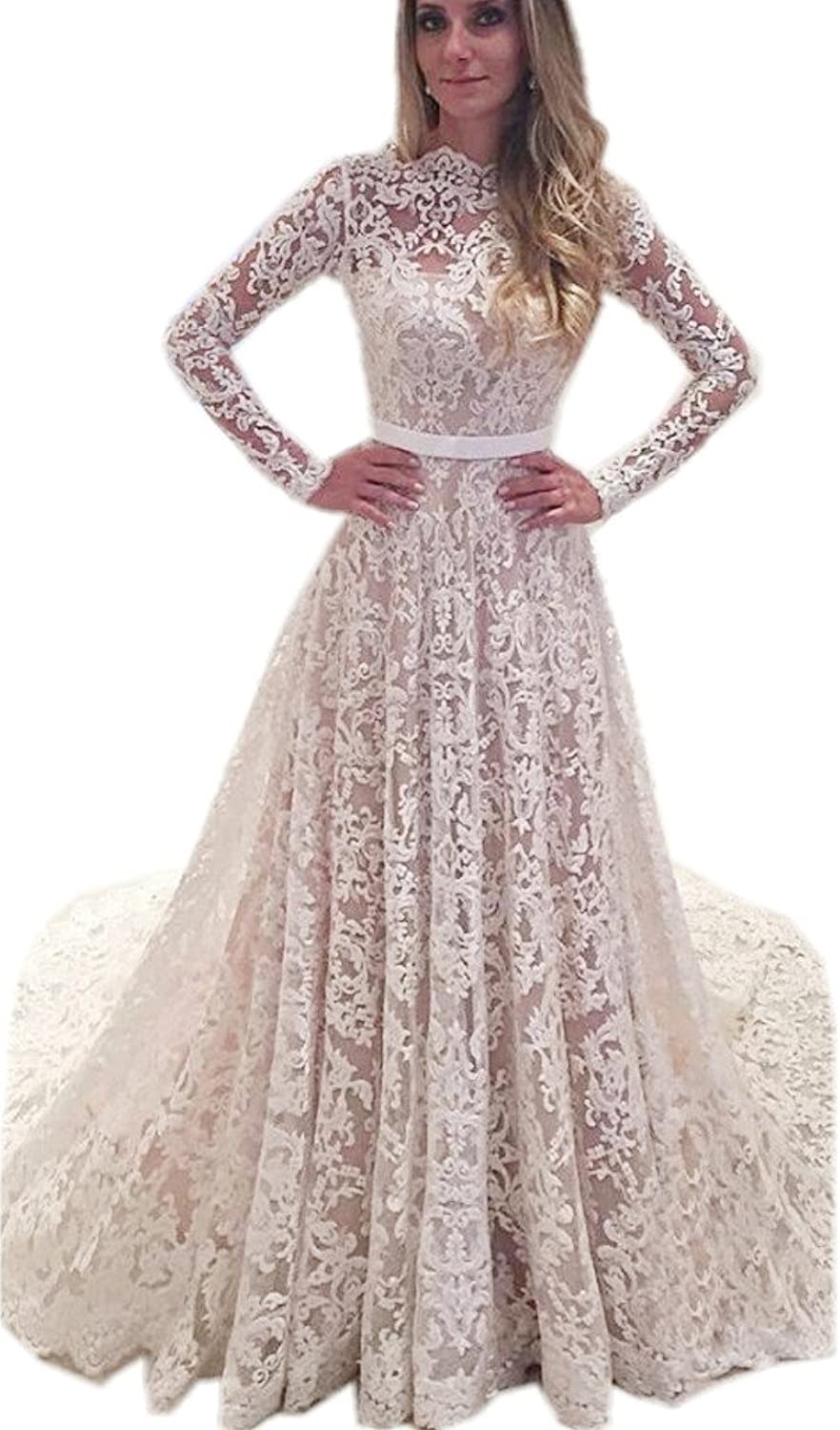 APXPF Women's Lace Tulle Illusion Neckline Wedding Dress for Bride with Long Sleeves