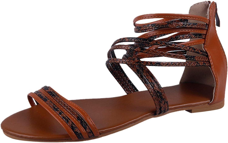 Fashion Women's Serpentine Summer Zipper Beach Open Toe Breathable Sandals Shoes