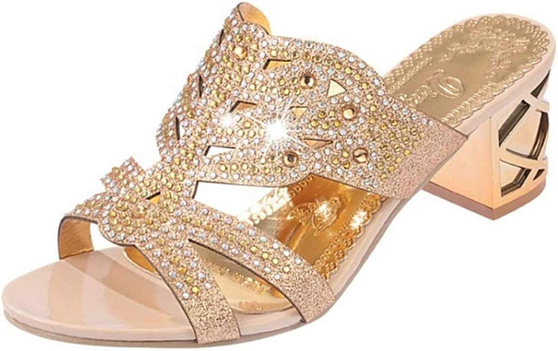 IWlxz Women's PU(Polyurethane) Spring Light Soles Sandals Block Heel Open Toe Sparkling Glitter Beige Green Royal bluee