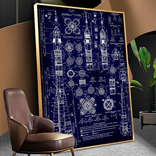 QAZEDC Pintura Decorativa Vintage Soyuz Rocket Blueprint Poster Soyuz Cohete Planes Nave Espacial Nave Espacial Cosmonauta Decoración para el hogar-60x80cm