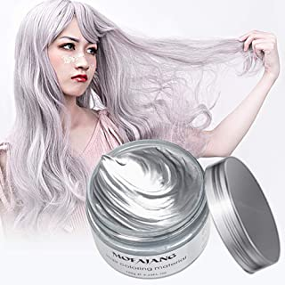 Arsty Temporary Hair Color Wax,4.23 oz Professional Hair Dye for Men Women,Silvery Grey Hair Pomades, Natural Matte Hairstyle for Party, Cosplay