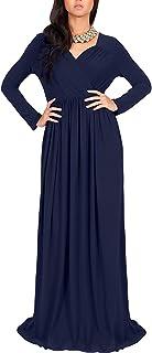 QUZI DRESS Womens Long Sleeve Empire Cocktail Elegant Evening Versatile Maxi Dress QZ007