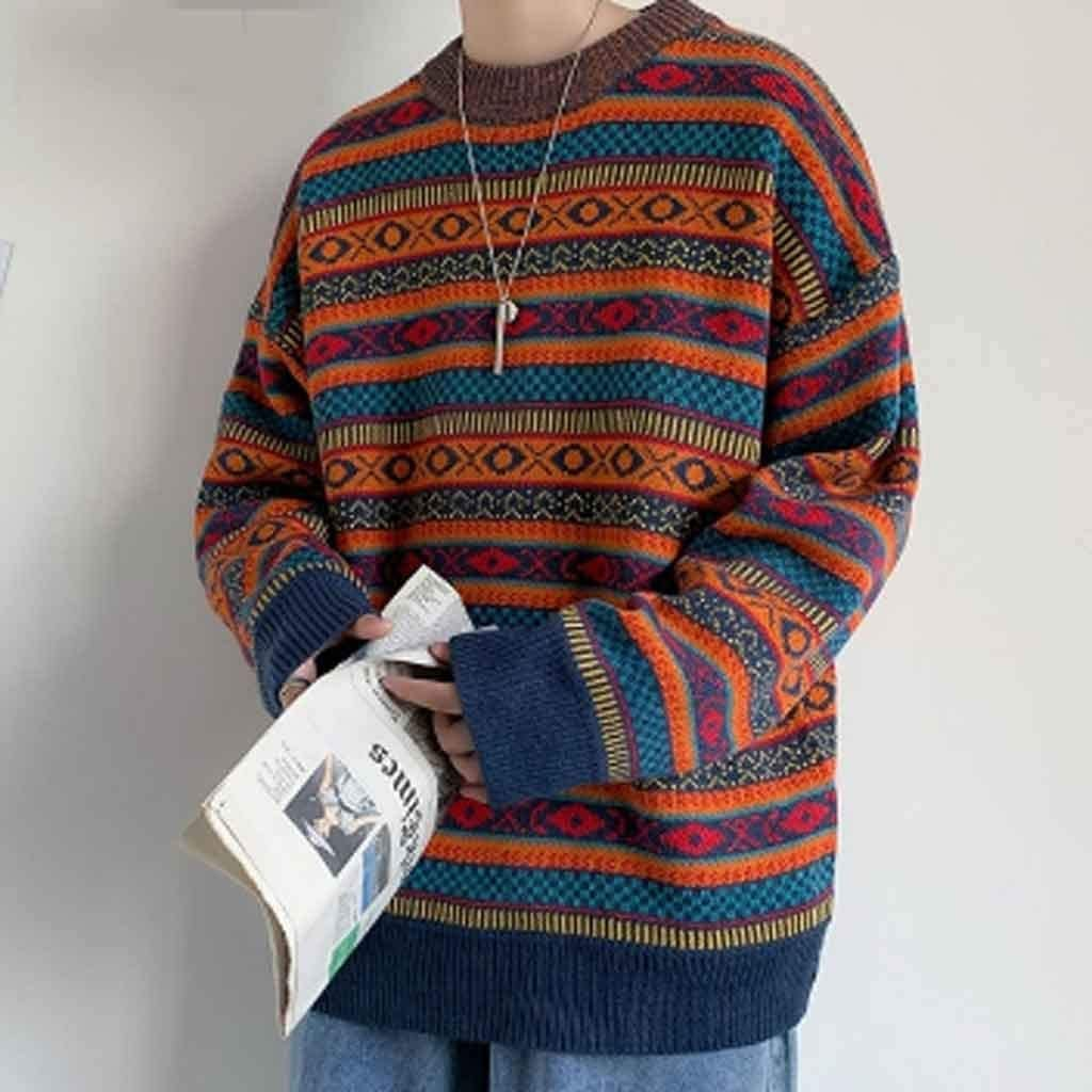 ZYING Autumn Winter Striped Knitted Sweater Men Clothes Pullover Men Sweater Black Men's Sweater Knit (Color : M Code)