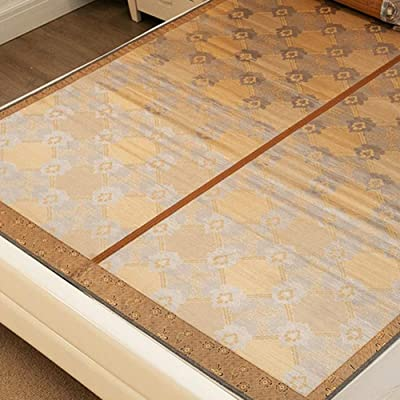 CAIJUN 竹マット 夏の季節 木目 炭化 冷却 通気性 バリなし 折りたたみ式 両側で使用されて、 8サイズ 竹カーペット 竹ラグ 夏用涼 (サイズ さいず : 1.35x1.95m)