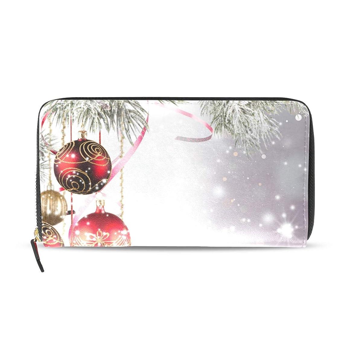 オーディション敬礼ケント旅立の店 長財布 人気 レディース メンズ 大容量多機能 二つ折り ラウンドファスナー PUレザー クリスマス 冬の雪 ウォレット ブラック