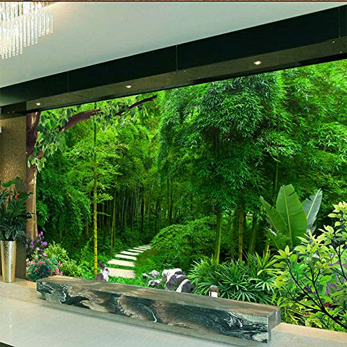 WSKBH Papel Tapiz De Murales De Pared,Bambú Verde Verde 3D Photo Frescos Murales De Papel Tapiz De Fondo De Televisión HD De Paño De Pared Imprimir Salón Sofá Decoracion Pintura Mural,110Cm (H) X 190