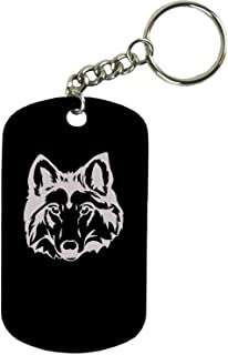 Personalized Engraved Custom Wolf/Husky Head 2-inch Colored Anodized Aluminum Customizable Keychain Dog Tag, Black