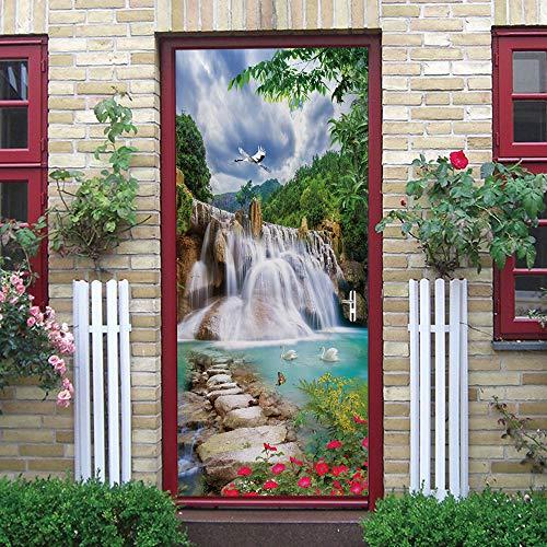 Pegatinas de puerta 3D, pegatinas de arte mural autoadhesivas, dormitorio, sala de estar, oficina, baño, decoración del hogar, paisaje natural