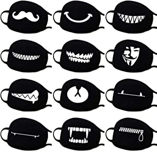 DBCH 5 Pack Fashion Mask Unisex Black Mouth Face Mask Cute Bear Print Pattern Respirator For Cycling Anti-dust Autumn winter warm windproof mask