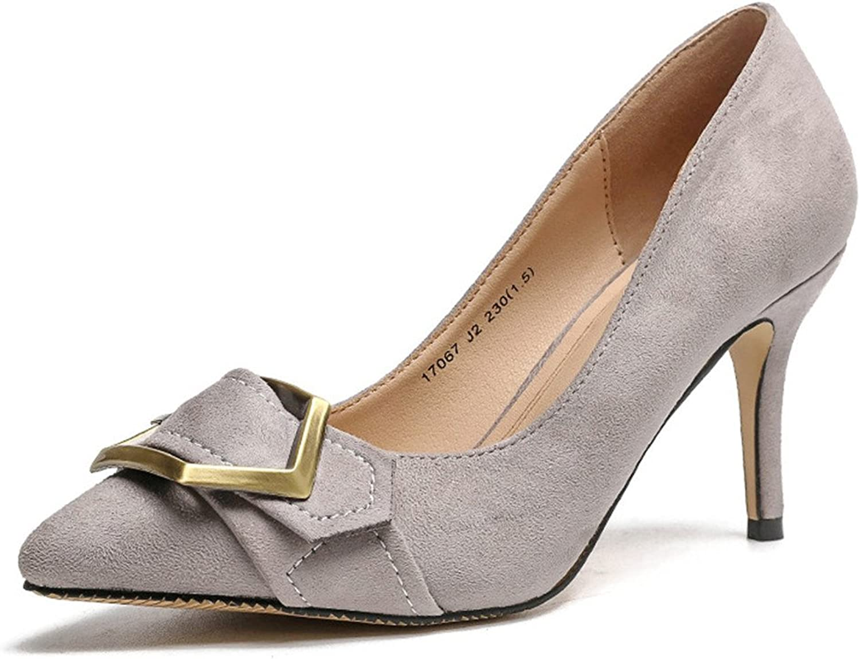 FORTUN Metal Buckle Women's Pointed Toe Heel shoes Matte high Heels Elegant Wedding