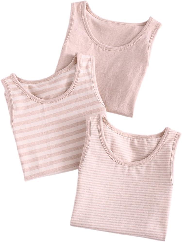 Tortor 1Bacha Toddler Little Big Kid Boy Girl 3 Pack Cotton Tank Undershirt Set