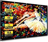Wsky Projector Screen, 120 inch HD Foldable Portable Outdoor Projection Screen, Anti-Crease 16:9 Movie Screen for Video Projector Best Home Theater Movie Party Class (Black)