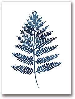 Get-in Ink Blue Fern Prints Watercolor Indigo Leaf Botanical Art Canvas Posters, Ink Blue Eucalyptus Foliage Painting Home Wall Decor,30X40 cm No Frame,Ph1046