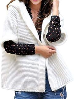 Breasted-Individual O Invierno De Punto Señoras De La Modernas Casual Capa De Color Sólido Simple del Suéter Encapuchado D...