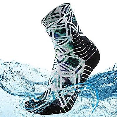 MEIKAN Waterproof Hiking Socks for Men, Mens' Water Wicking Socks Thermal Crew Dry Fit Half Cushion Quarter Socks in Outdoor Bikes Running Fishing Socks 1 Pair (Multicolor, X-Large)
