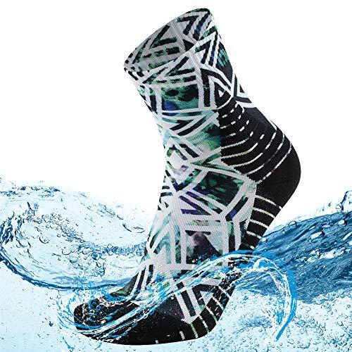 MEIKAN 100% Waterproof Socks for Women Girls, Fashion Sock in All Seasons Trail Running Work Rain Gear Graduation Gifts 1 Pair (Multicolor, Small)