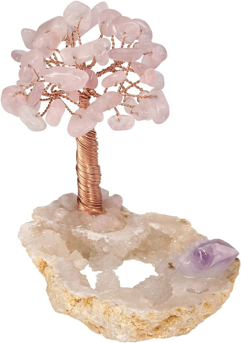 Top Plaza Rose Quartz Money Tree Reiki Healing Crystal Stones Wire Wrapped On Geode Feng Shui Luck Figurine Art Decor for Home Office Living Room Mini Size