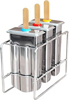 Kingleder Set of 3 Reusable Stainless Steel Popsicle Mold and Rack, BPA Free Ice Pop Maker Kit, Ice Lolly Moulds, Frozen Ice Cream Maker(Tray/molds/3 lids/50 Wooden Sticks/10 bags/Cleaning Brush)
