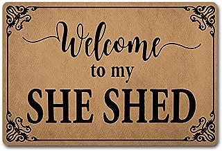 ZQH IndoorDoor Mats Welcome to My She Shed Doormat Monogram Welcome Door Rugs (23.6 X 15.7 in) Non-Woven Fabric Top with a Anti-Slip Rubber Back Door Rugs Indoor Doormat
