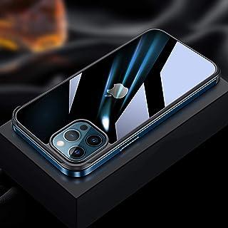 IPhone 12 携帯電話ケース、iPhone 12 Mini 透明ガラス保護カバー、iPhone 12 Pro 金属フレームケース、iPhone 12 Pro Max 落下防止オールインクルーシブ携帯電話ケース,Blue-iPhone 12...