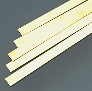 """K&S 9721 K&S Precision Metals 9721 Brass Strip, 0.032"""" Thickness x 1/2"""" Width x 36"""" Length, 5 pcs per Box, Made in USA Brass Coating Cut Cutting Angle Flute ()"""
