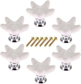 YAVSO Pomos y Tiradores 6pcs Ceramica Pomos Armario Estrella de Mar Tiradores de Muebles para Cajones Armario Puertas ...