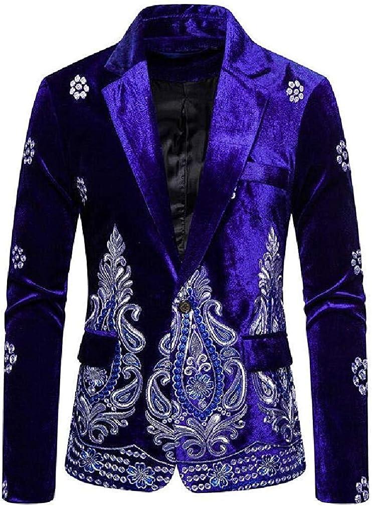 Men's Pleuche Embroidery One Button Regular Fit Casual Dress Blazer Jacket Sport Coat