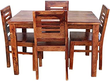 Vinod Furniture Solid Wooden Sheesham Wood Dining Table 4 Seater with Chair | 4 Seater Dining Table Sets | Home Dining Room S