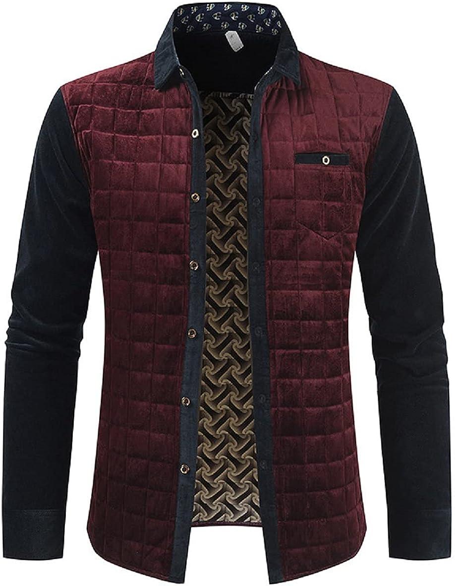 Chartou Men's Lightweight Lapel Collar Diamond-Quilted Patchwork Jacket Coat