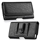 Luxmo Wallet Series Case for Google Pixel 3a XL - PU Leather Phone Belt Holster Carry Pouch with Card Slots/Coin Holders and Atom Cloth for Google Pixel 3a XL - Black