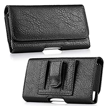 Luxmo Wallet Series Case for ZTE Blade T2 Lite  Z559DL   TracFone  - PU Leather Phone Belt Holster Carry Pouch with Card Slots/Coin Holders and Atom Cloth - Black