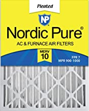 Nordic Pure 20x25x4 (3-5/8 Actual Depth) MERV 10 Pleated AC Furnace Air Filter, Box of 2