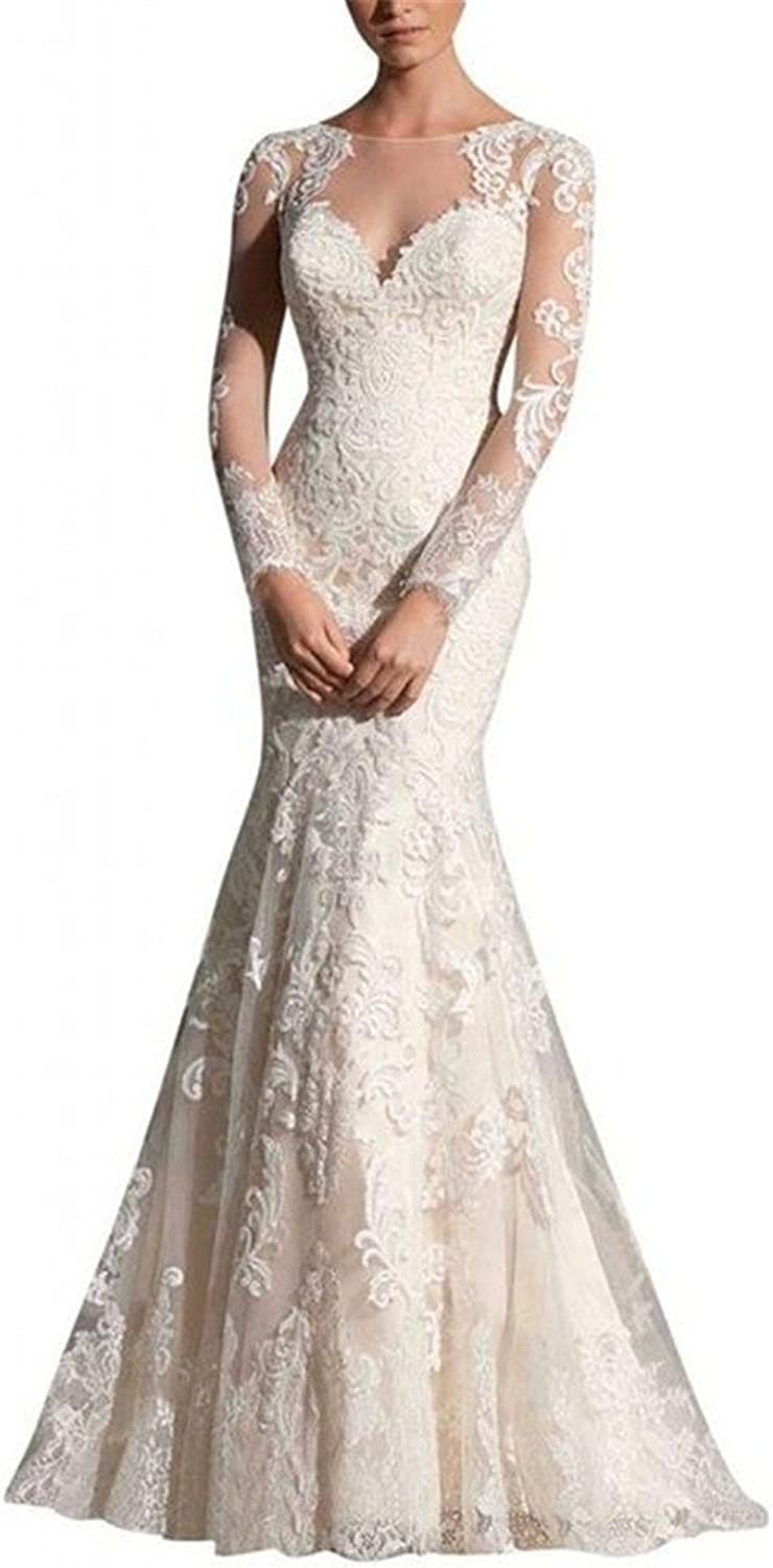 HSDJ Women's Mermaid Lace Appliques Floor Length Wedding Dress
