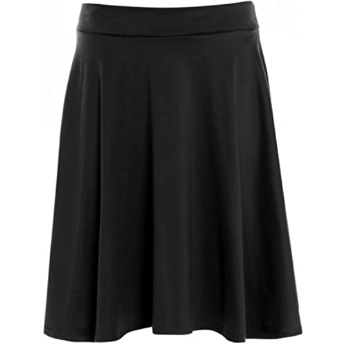 1637f23f842 Womens Plain Soft Stretch Ladies Elasticated Waistband Knee Length Full Fla Swing  Skater Midi Skirt