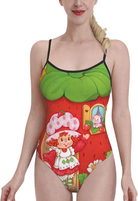 Women's Beach Sport 1-Piece Swimsuit Strawberry Shortcake Cartoon Swimwear Bathing Suits Swimwear Beachwear