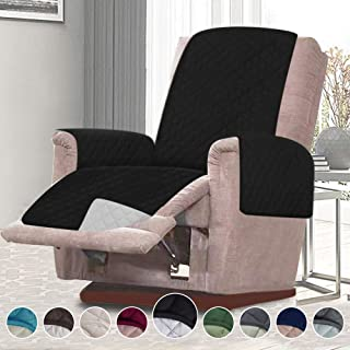 RHF Reversible Oversized Recliner Cover&Oversized Recliner Chair Covers,Slipcovers for Recliner, Oversized Chair Covers,Pet Cover for Recliner,Machine Washable(XRecliner: Black/Gray)