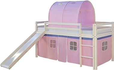 PEGANE Lit Enfant superposé en Bois avec Tunnel en Plastique et Toboggan Coloris Rose Clair, 90 x 200 cm