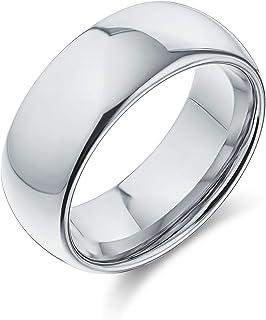 Bling Jewelry Semplice Semplice Cupola Larga Nero o Argento Coppie Anello da Sposa in Titanio per Uomo per Donna Comfort F...