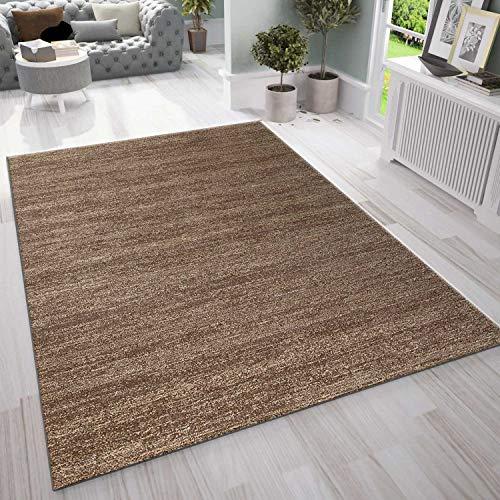 VIMODA Teppich Wohnzimmer Kurzflor Modern Meliert Oeko TEX Zertifiziert Farbechtheit Pflegeleicht in BRAUN, Maße:120 x 170 cm