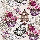 20 servilletas de rosas en elementos vintage, brújula, jaula, flores, 33 x 33 cm