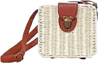 Obosoyo Women Retro Summer Straw Bags Small Box Cross Body Bag Beach Sea Shoulder Messenger Satchels