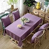 XIEPEI Mantel de bambú de imitación de cáñamo de color sólido, mantel de moda duradero y resistente, sintético, Pink Purple, 130CM*170CM