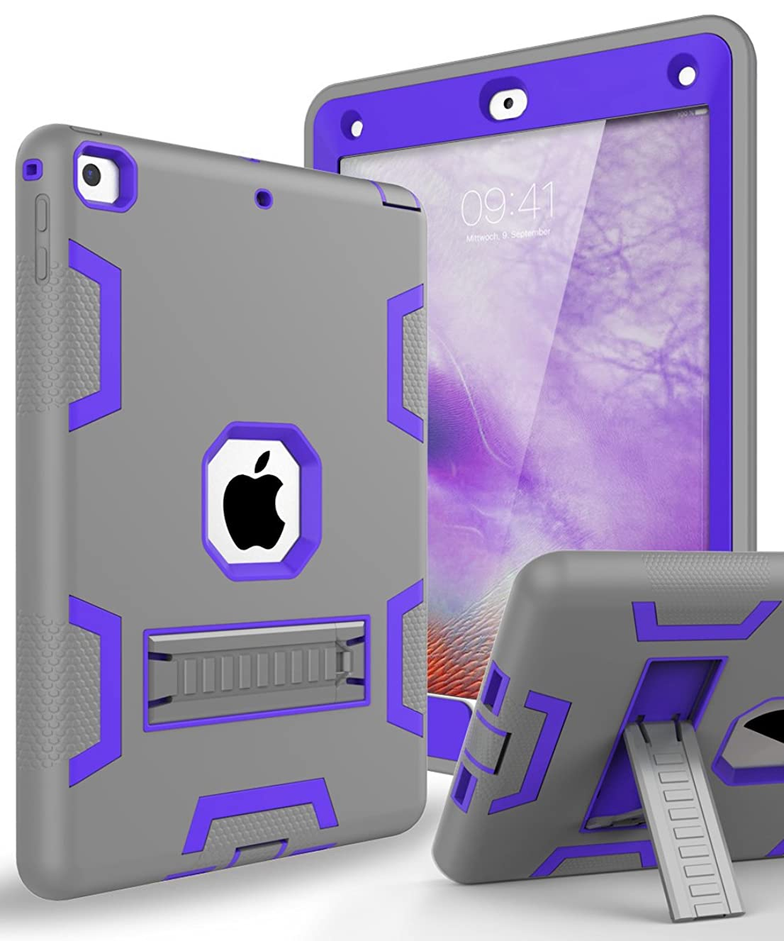 TOPSKY Case for New iPad 9.7 2018,iPad 6th/5th Generation Case,Three Layer Shockproof Armor Defender Protective Case Cover for Apple iPad 9.7 2017/2018 A1893 A1954 A1822 A1823,Grey Purple