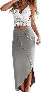 Women Lace Deep V Neck Crop Top Slit Maxi Skirt Bodycon Beach 2 Pieces Dress Set