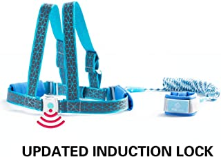 2 in 1 Toddler Walking Harness Leash with Induction Lock, Child Safety Anti Lost Wrist Link and Vest, Reflective Tape Liner for Toddlers Babies Kid(Blue, 2 M/6.5ft)