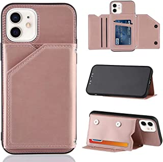 TTNAO Compatible with iPhone 12/iPhone 12 Pro Case Flip Wallet with Card Slot PU Leather Magnetic Stand Function And Wrist Strap Phone Case+1*Screen Protector(Pink)