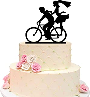 Wedding Cake Topper with Bride and Groom Silhouettes on Bike, Lovely Couple Bicycle Silhouette Cake Topper for Wedding Engagement and Anniversary
